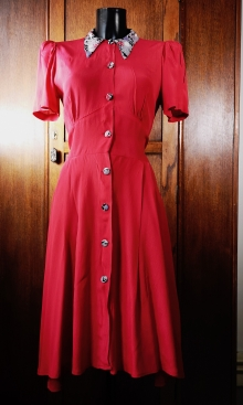 Coral Crepe 1940s Swing Dance Dress