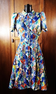 1940s Floral Patchwork Print Dress