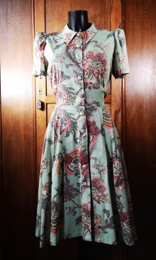 1940s Swing Dance Dress Sage Pink Paisley Rayon
