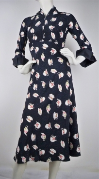 1930's Sultry Star Silk Teacup Print Dress