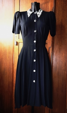 1940s Black Crepe Swing Dance Dress