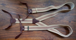 Tan and Brown Stripe Button Braces