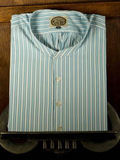 Turquoise Stripe Collarless Shirt