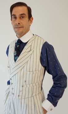 White and Blue Pinstripe Sharp Lapel Double Breasted Waistcoat
