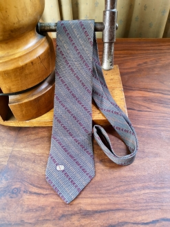 Valentino Grey and Red Silk Tie