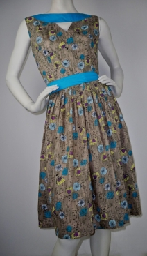 Fawn and Turquoise Print Beatnik Dress