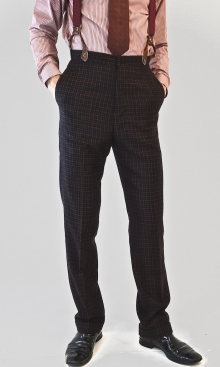 Black with Red and Green Check 1930's Trousers