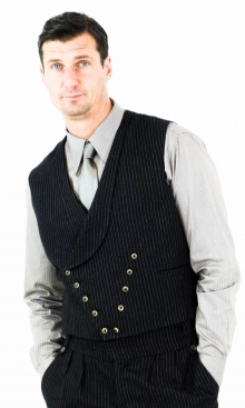 Black Fine Pinstripe Double Breasted Waistcoat