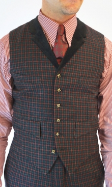 Black with Red and Green Check Four Pocket Waistcoat
