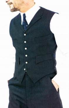 Blue and Black English Check Four Pocket Waistcoat