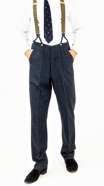 Blue and Black English Check Fishtail Back Trousers
