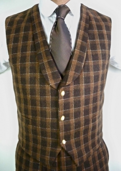Brown And Tan Check Tweed Dandy Deep Collar Waistcoat