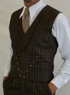 Brown and Cream Check Tweed Double Breasted Waistcoat