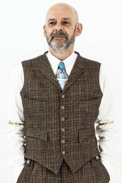 Brown Blue and Mustard Check Four Pocket Waistcoat