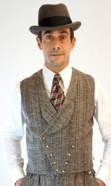Faun Brown Handloom Wool Double Breasted Waistcoat