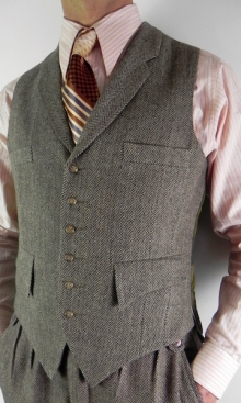 Brown Wool Herringbone Classic Four Pocket Waistcoat