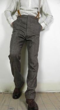 Brown Wool Herringbone 1930's Trousers