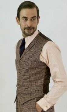 Brown Tan and Cream Fine Check Four Pocket Waistcoat