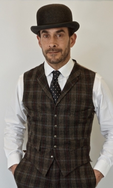 Dark Faun Brown Check Four Pocket Waistcoat