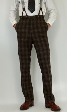 Dark Faun Brown Check 1930's Trousers