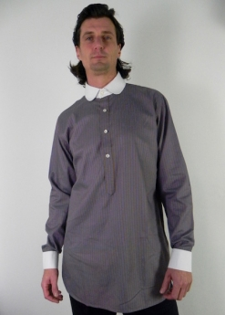 Bronze and Lilac Satin Ribbed Cotton Neo Edwardian Shirt