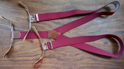 Burgundy Red Polkadot Button Braces