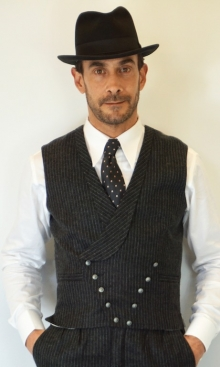 Charcoal Fine Pinstripe Double Breasted Waistcoat