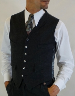 Charcoal Fine Flannel Four Pocket Waistcoat