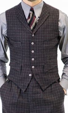Charcoal Grey and Burgundy Check Four Pocket Waistcoat