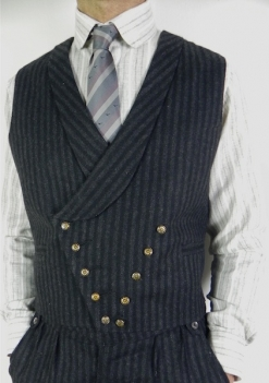 Charcoal & Black Striped Herringbone D. Breasted Waistcoat