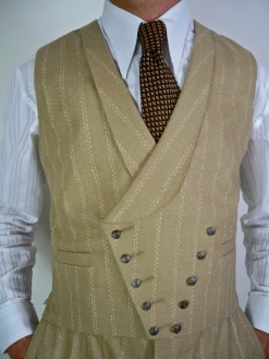 Cream Italian Pinstripe Double Breasted Waistcoat
