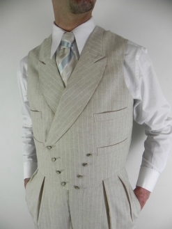 Cream Pinstripe Sharp Lapel D Breasted Waistcoat