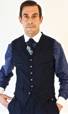 Deep Blue and Black Herringbone Four Pocket Waistcoat
