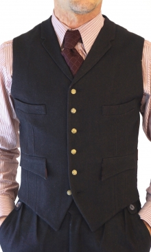 Deep Brown Wool Herringbone Four Pocket Waistcoat