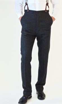 Dark Grey Fine Check 1930's Trousers