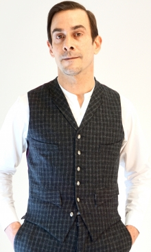 Dark Grey Fine Check Four Pocket Waistcoat