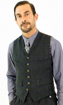 Dark Grey Green and Lilac Check Four Pocket Waistcoat