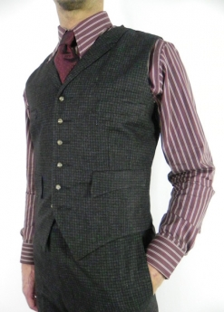 Dark Grey and Plum Fine Check Four Pocket Waistcoat