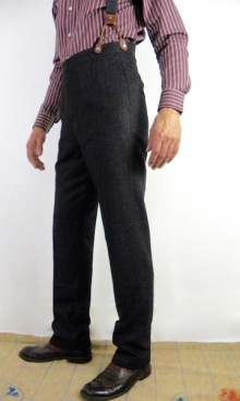 Dark Grey and Plum Fine Check 1930's Trousers