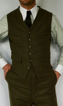 Dark Green Fine Wool Herringbone Four Pocket Waistcoat