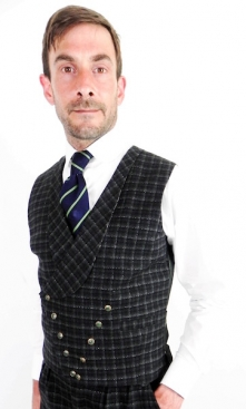 Dapper Grey Green Fine Check Double Breasted Waistcoat