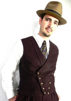Deep Brown and Black Dogtooth Check Double Breasted Waistcoat