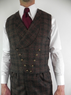 Dark Brown Prince Of Wales Check Double Breasted Waistcoat