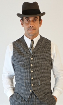 Grey Dogtooth Wool Four Pocket Waistcoat