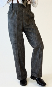 Grey Dogtooth Wool Oxford Bags