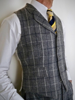 Grey Check Irish Tweed Waistcoat