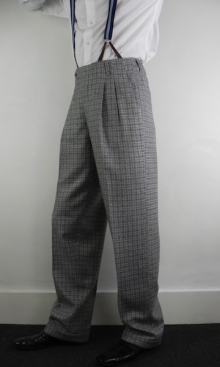 Grey French Check 1950's Peg Trousers