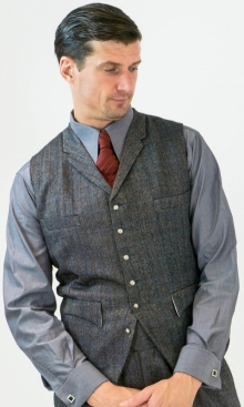 Grey Herringbone with Blue and Red Detail Four Pocket Waistcoat