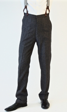 Grey Fine Wool Pinstripe 1930's Trousers