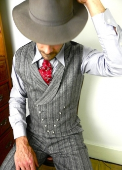 Grey Triple Pinstripe Double Breasted Waistcoat